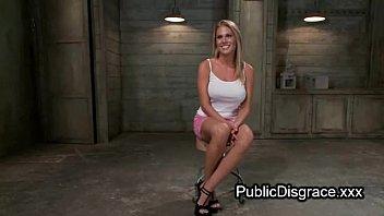tied miniskirt blonde Son brutally s