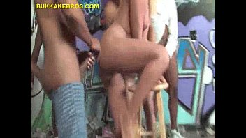 forced blonde mature gangbang British wife in stockings masturbating