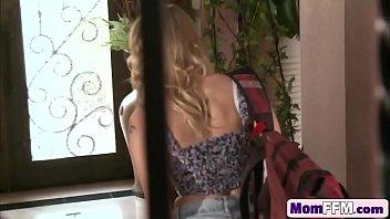 son mother blonde daughter and punish Catches boyfriend jerking