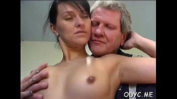 old mand german Brunette gets creampie in shower